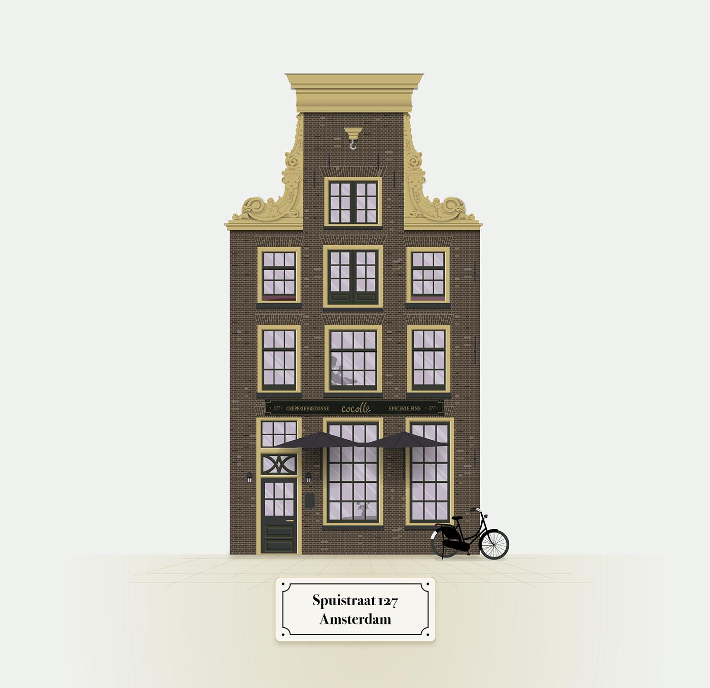 ILLUSTRATION  amsterdam dutch Netherlands monument building nederlands grachtenpand realistic