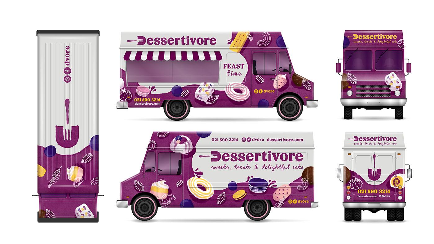 desserts ILLUSTRATION  Food truck Event branding  cape town Packaging bottle lable car wrap restraunt