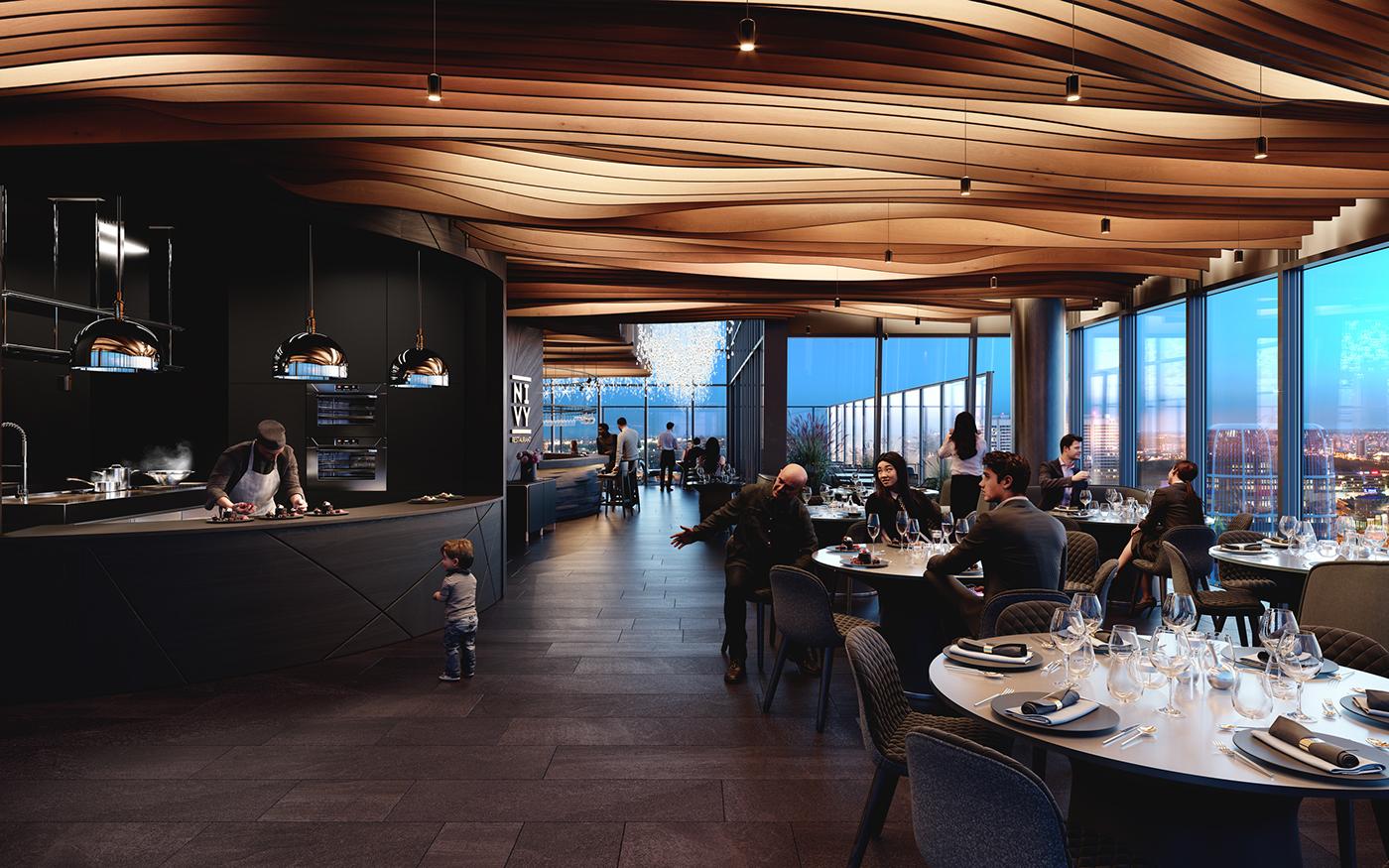 restaurant visualization Food  HIgh-Rise CGI interior design  gastronomy Hospitality