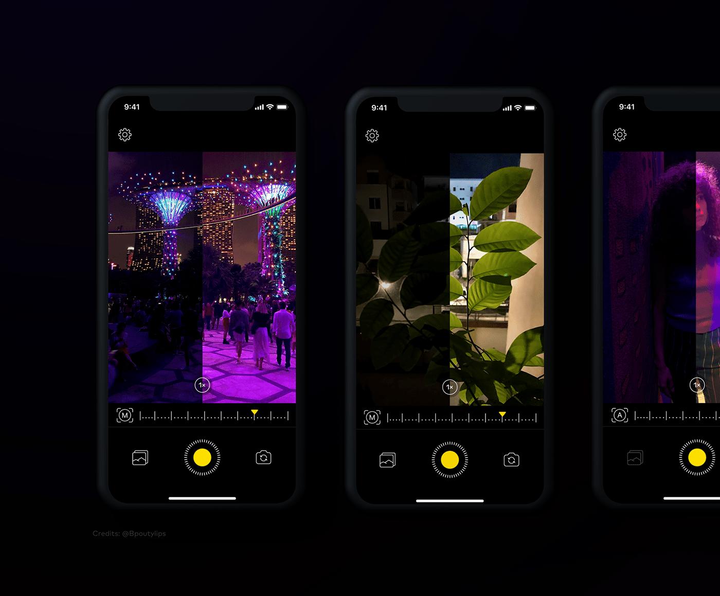 app camera iphone minimal Mobile app mobile design night night mode photocraphy UI/UX