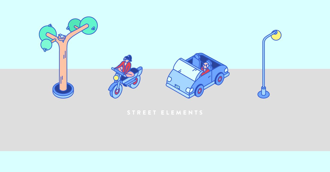 Isometric city yogi building car motorbike Playful ILLUSTRATION