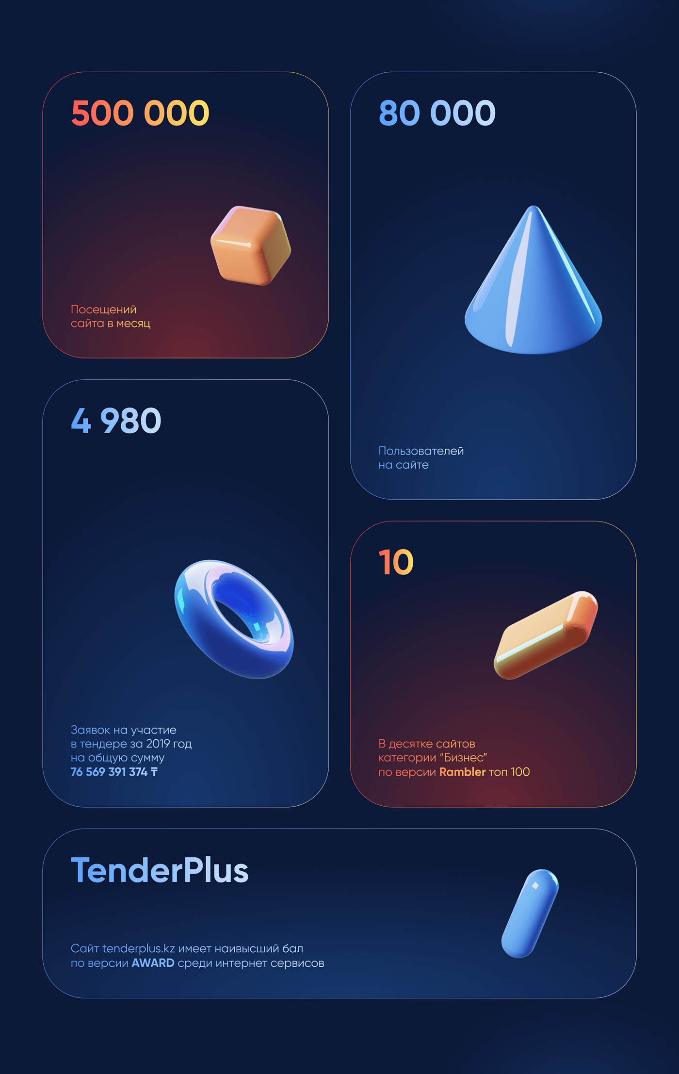 3D commercial dark glass Icon neon typography   UI ux Web