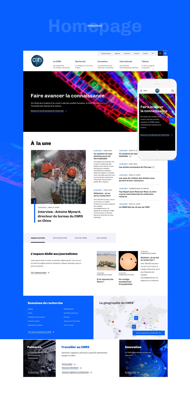 CNRS Webdesign direction artistique recherche scientifique organisme public Français blue White redesign