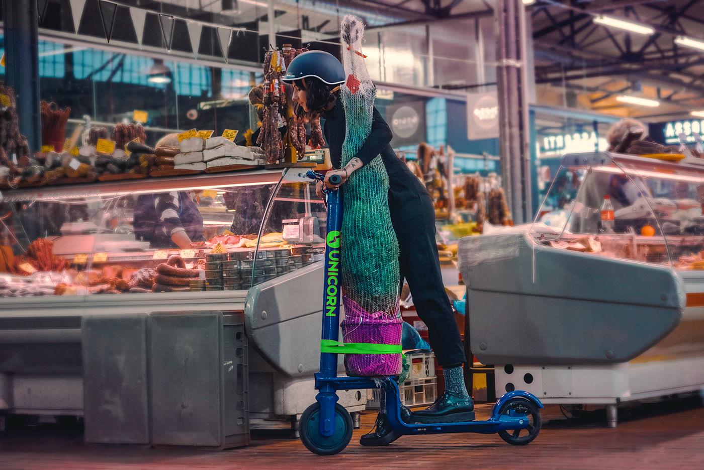 Scooter electricscooter KickScooter Escooter mobility transportation Ecology branding  unicorn productdesign