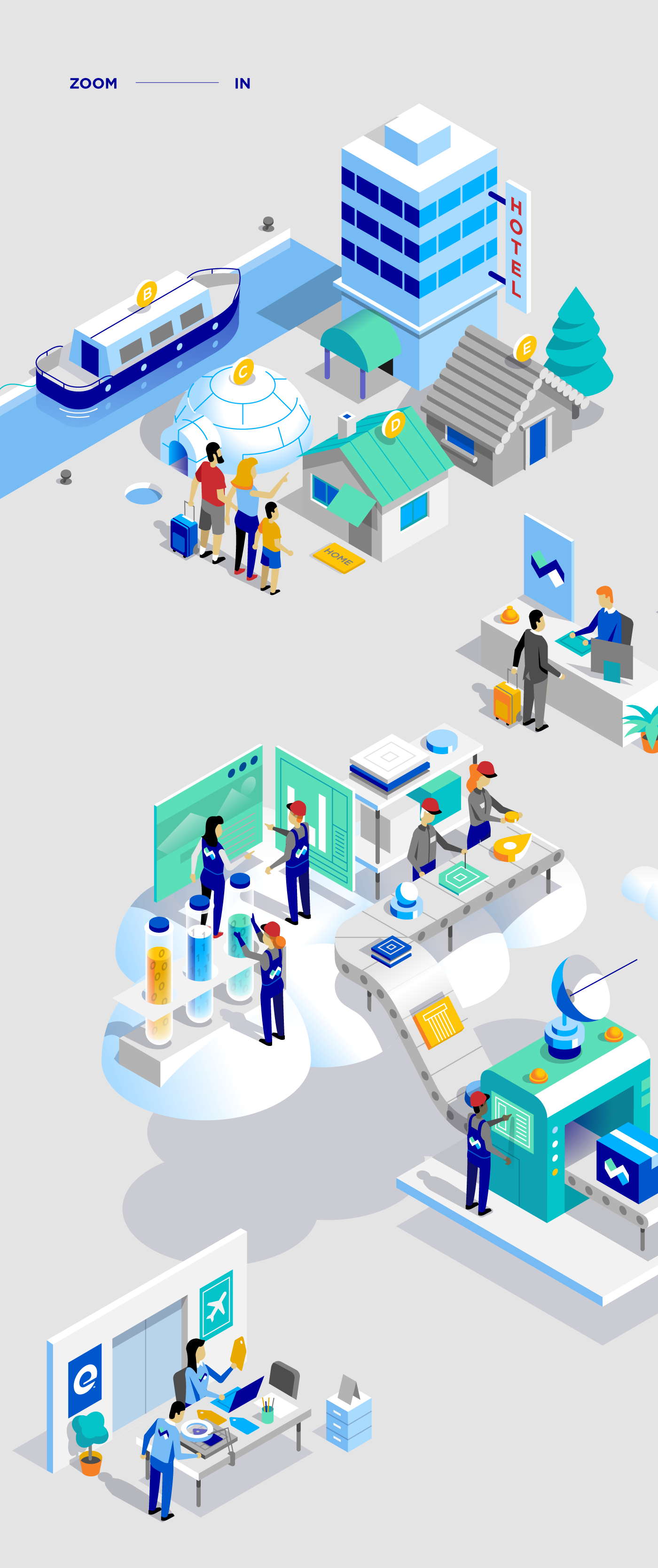 Solution,services,tech,corporative,characters,Isometric,flat,Travel,Work