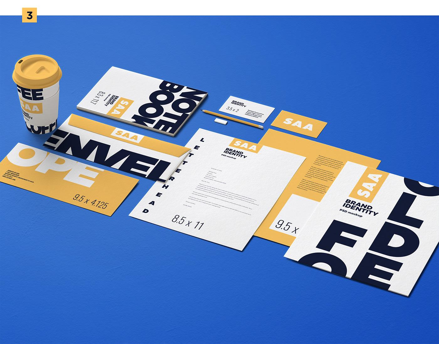psd psd mockup Stationery Corporate Identity branding  Mockup