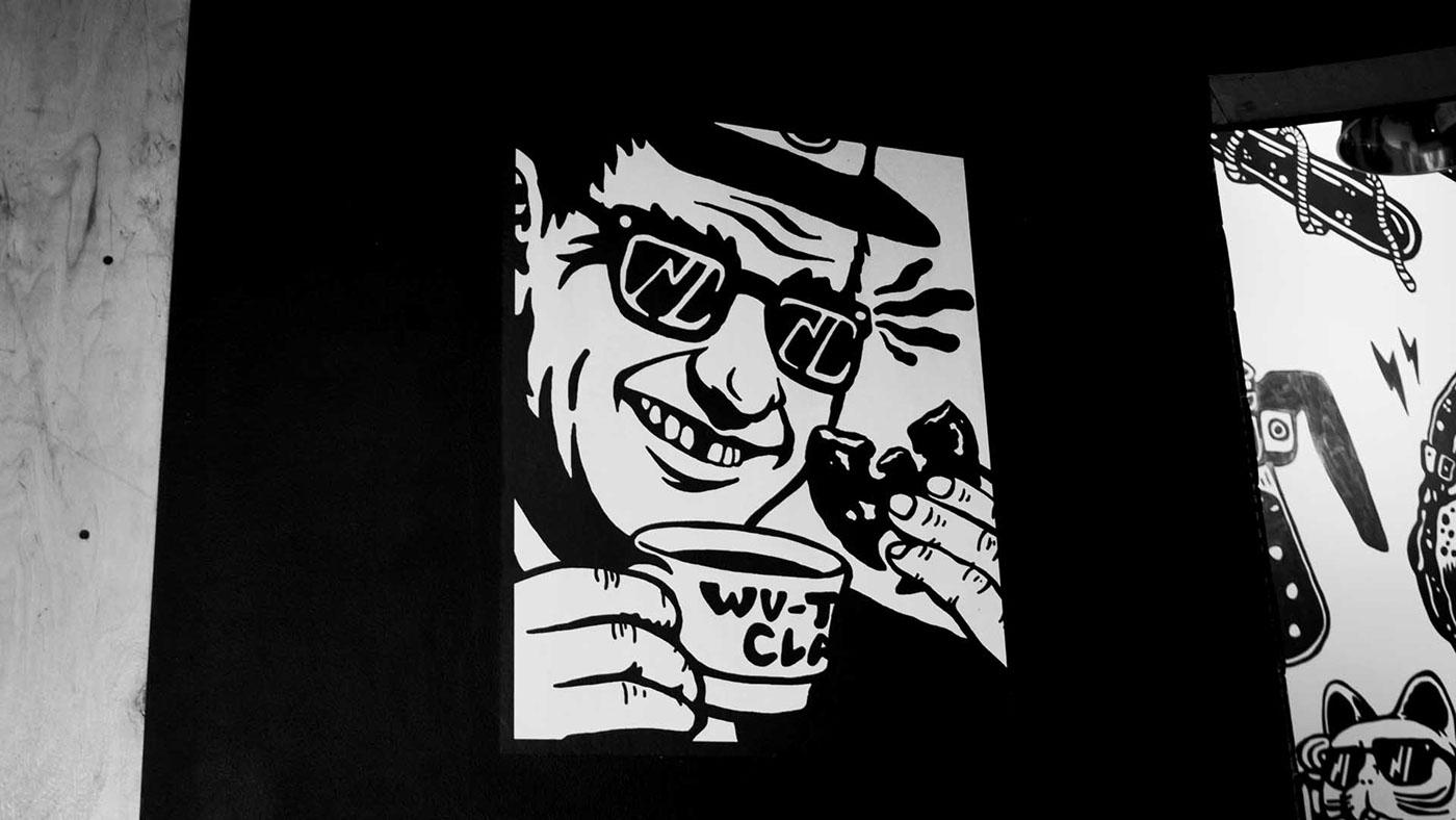 Street Art  Mural sneakers Coffee Character design  canvas interior design  graphic design  poster art poster