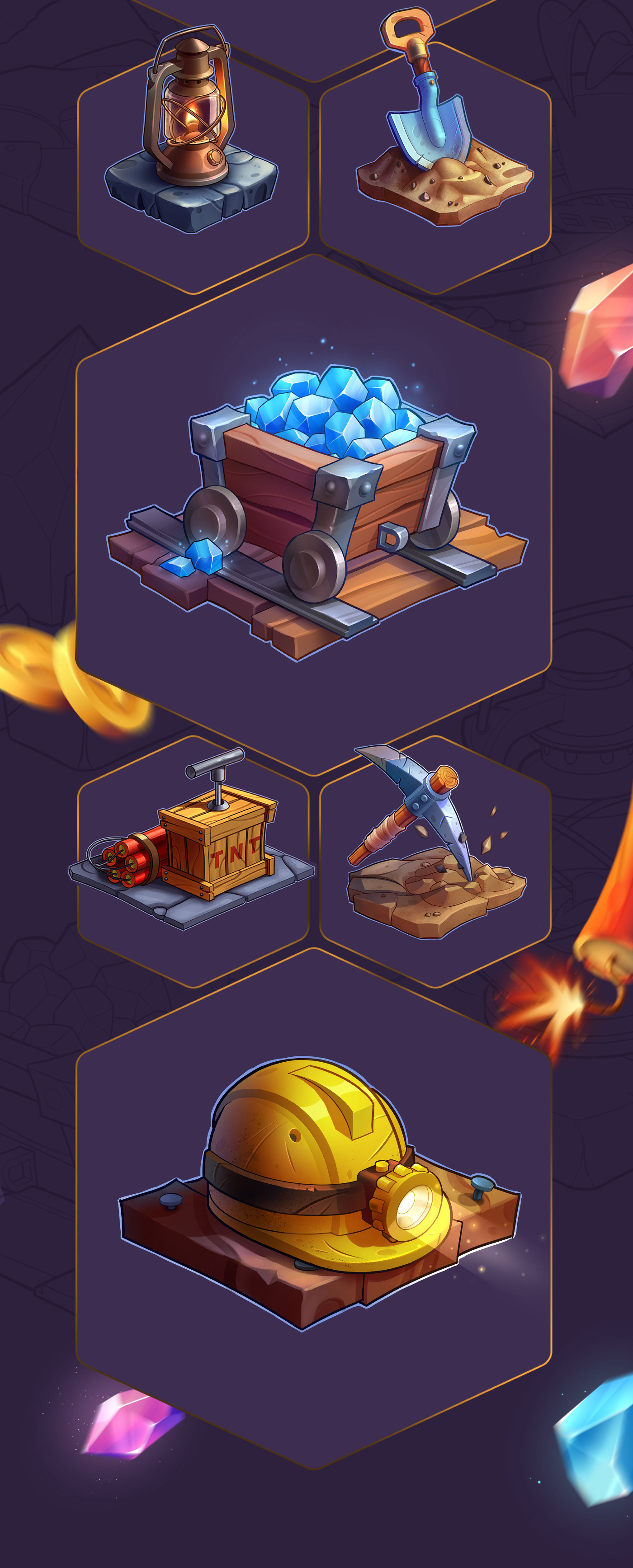 2D 3D assets casual CGI game icons mine mobile props