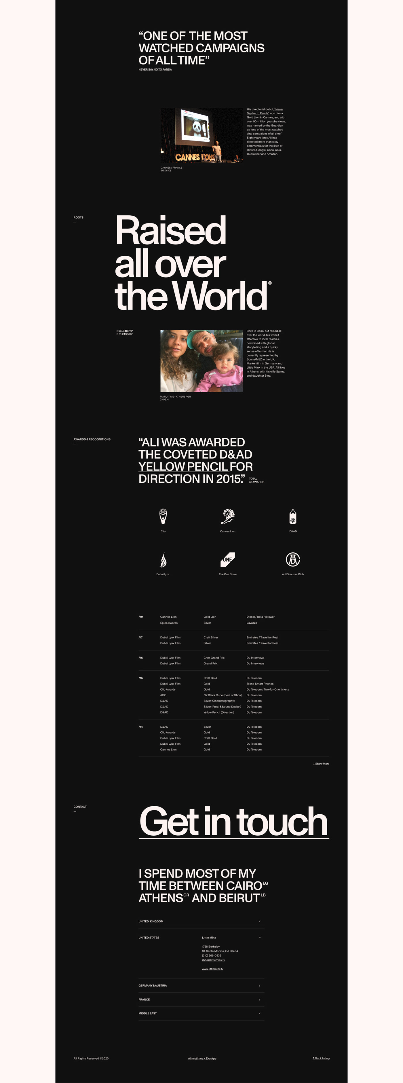 biography page with a swiss design style including dramatic typographic size contrast