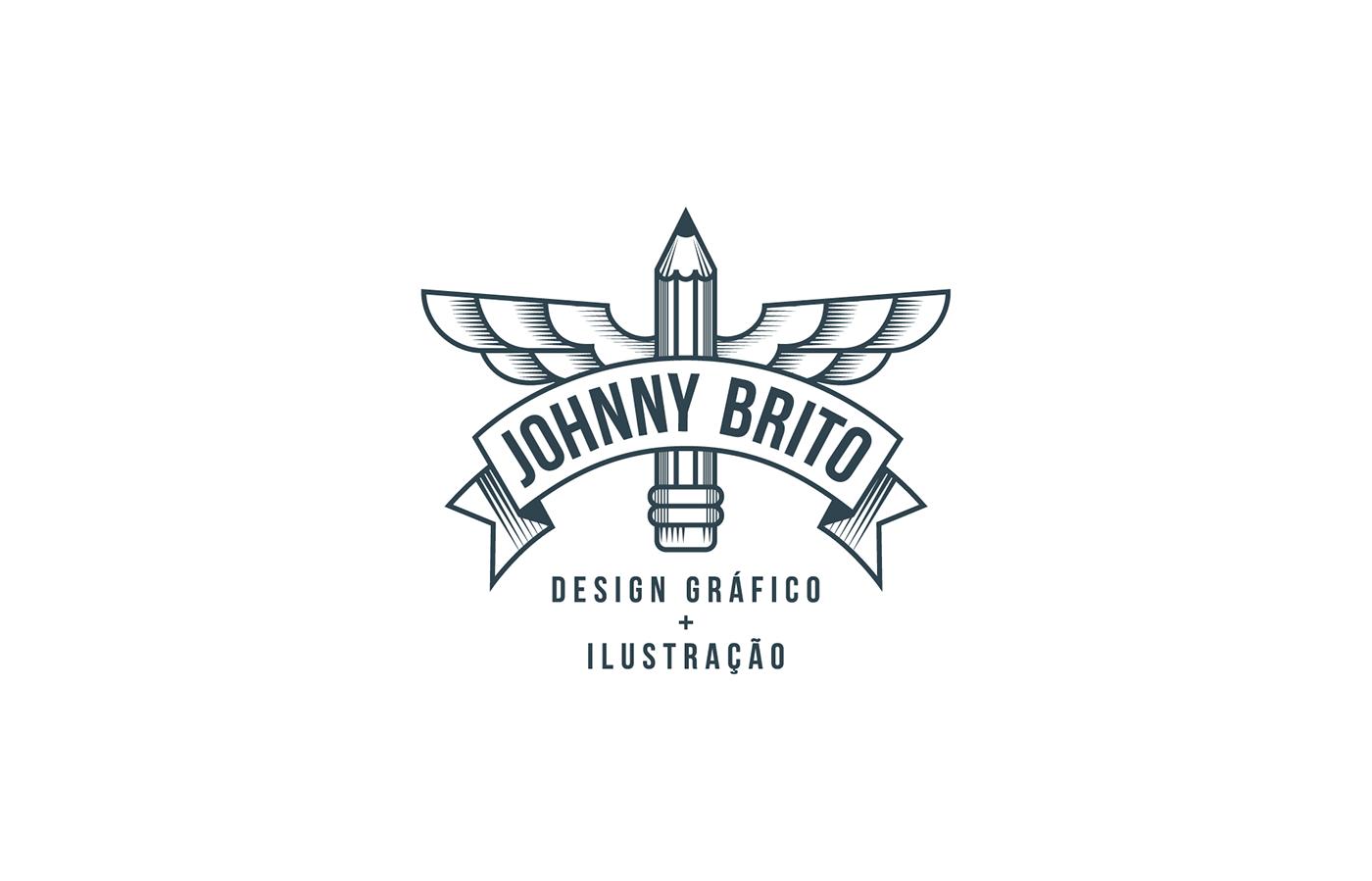 personal logo identity blue clean visual johnny brito Logotipo identidade ex-libris Transparency White