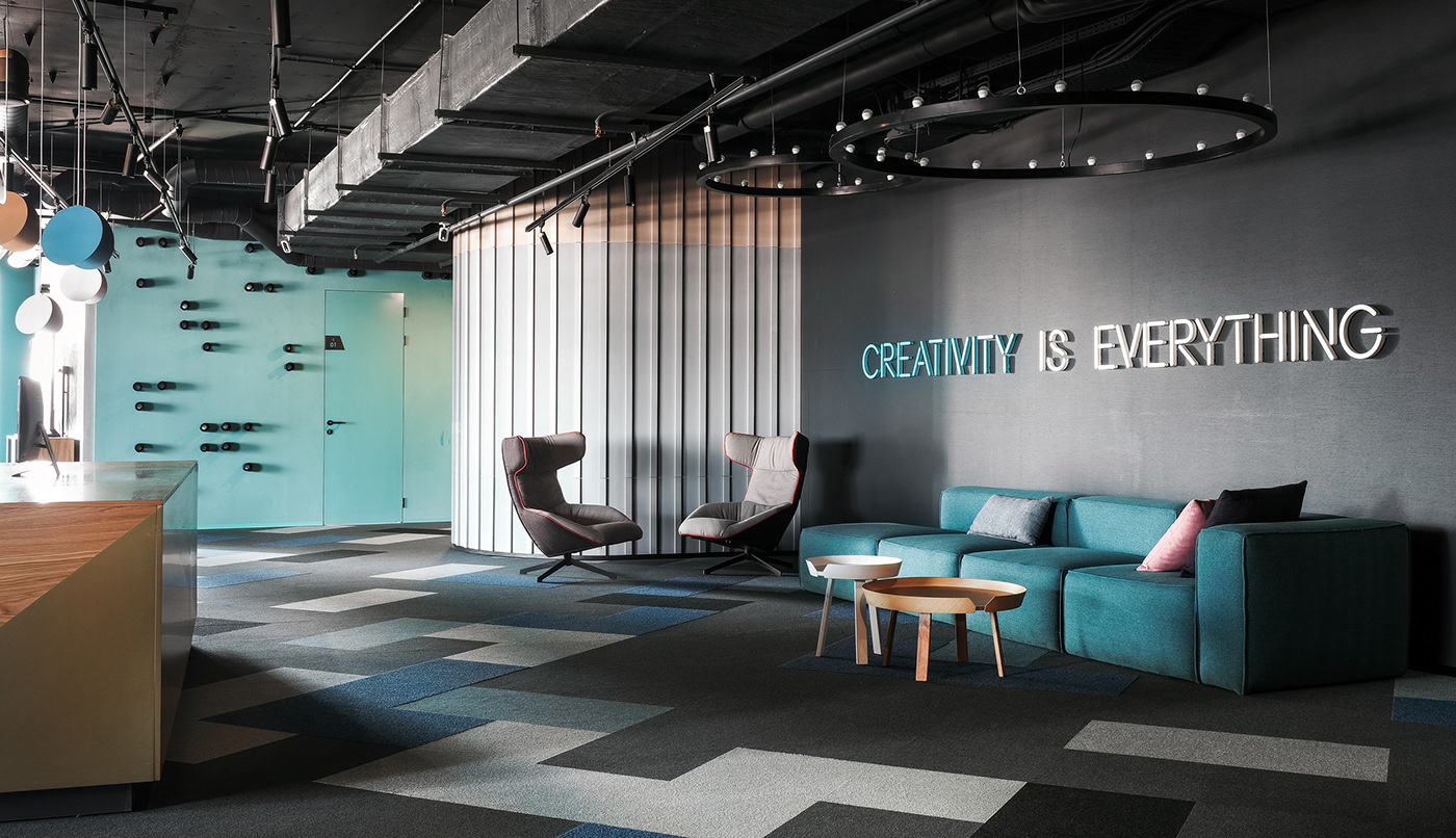Office coworking Space  design wood concrete furniture glass workki