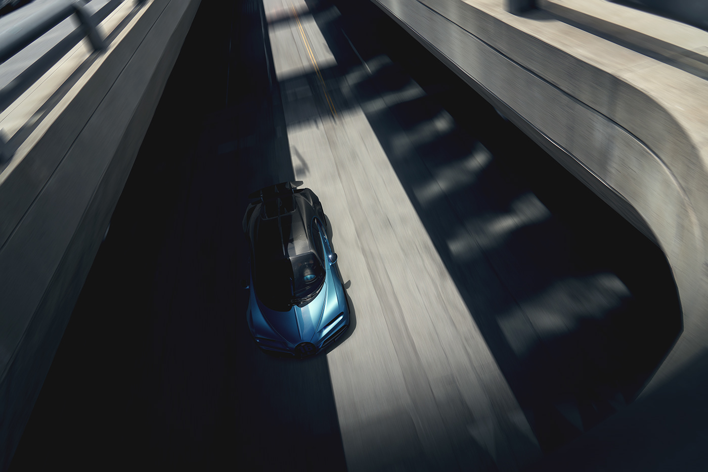 A bugatti chiron in the streets of los angeles.