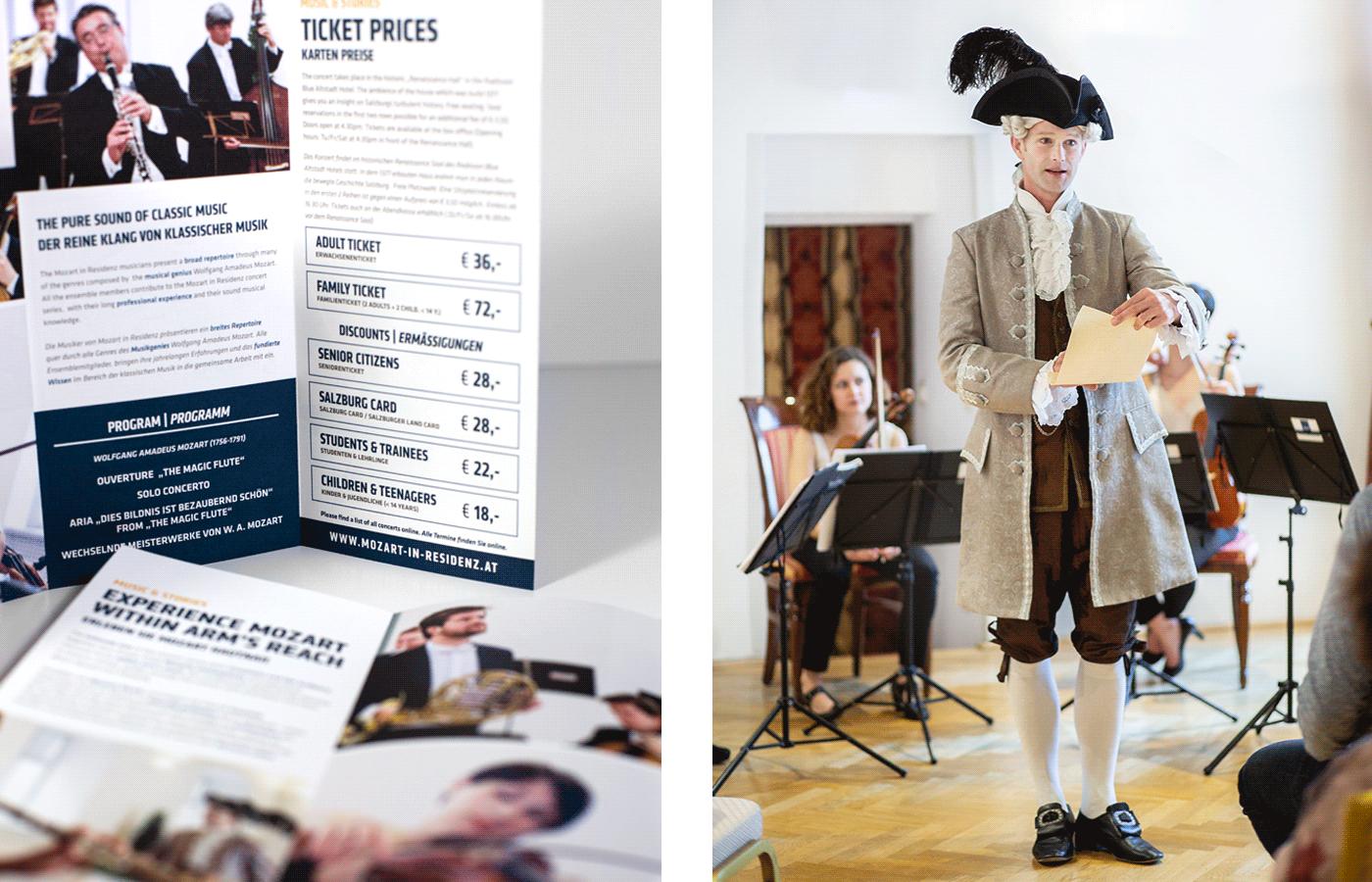 classic music salzburg concert Corporate Design design businesscard folder blue music mozart