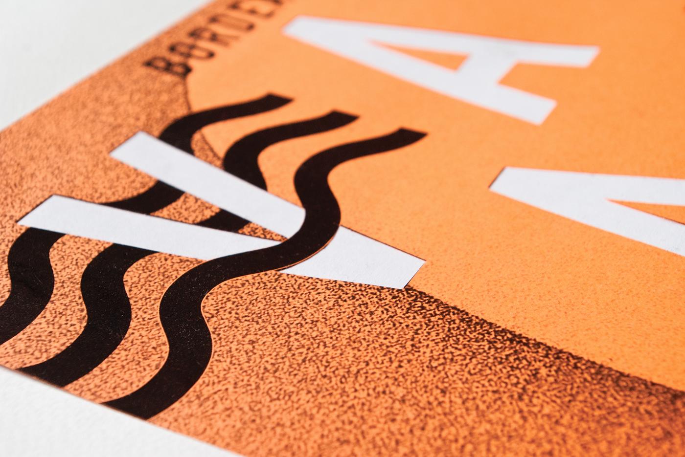 Surf Sun fluo orange sand poster festival art Culturel