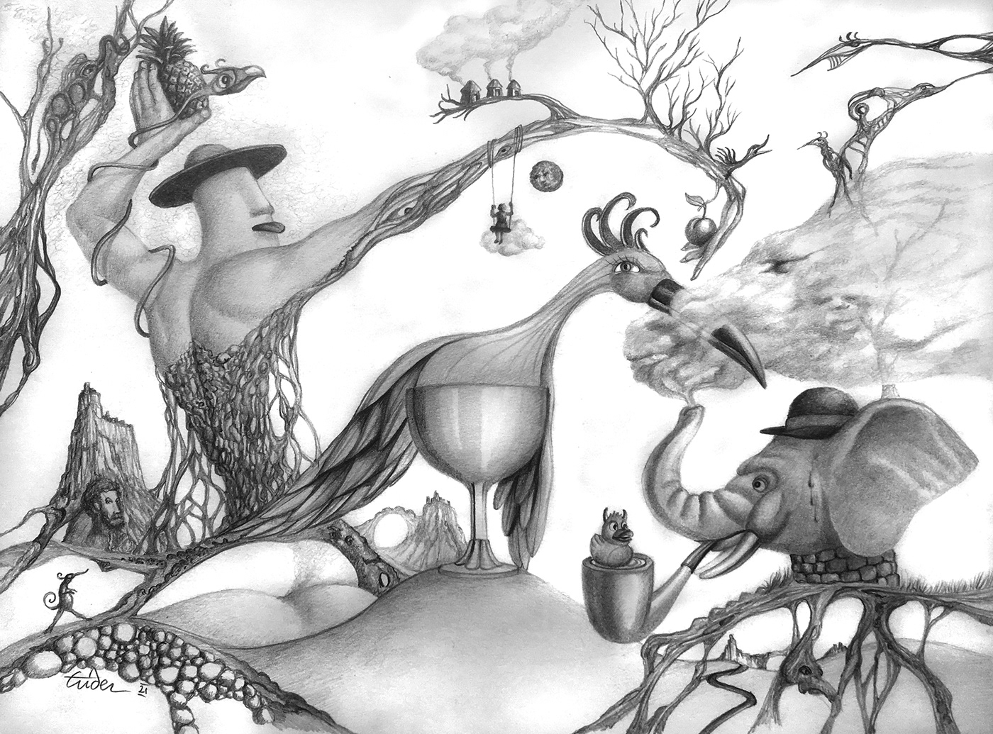 crayon dessin fantasmagorie imaginaire noir et blanc poétique Rêve surrealiste