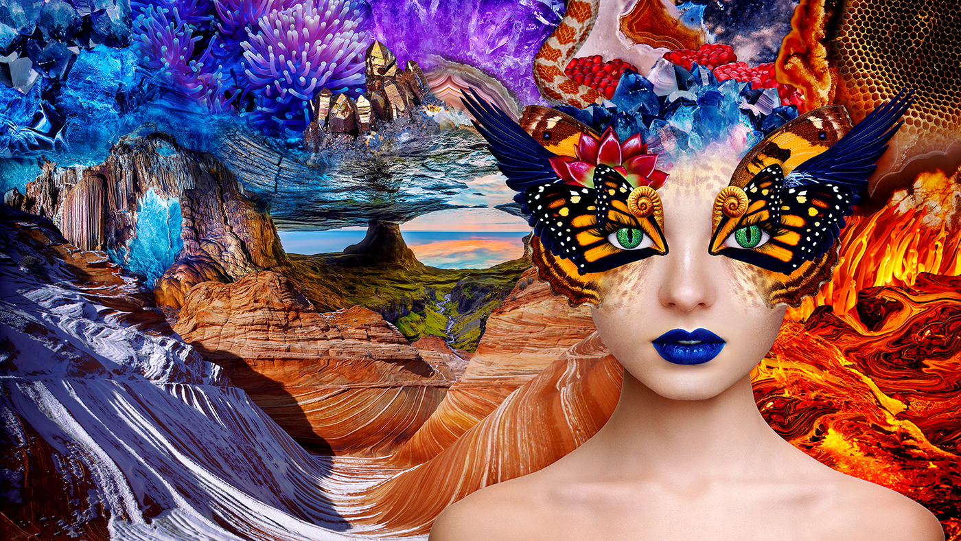 print butterfly fantasy dream lava water element snake girl eyes mine mineral Glitch wings psychedelic