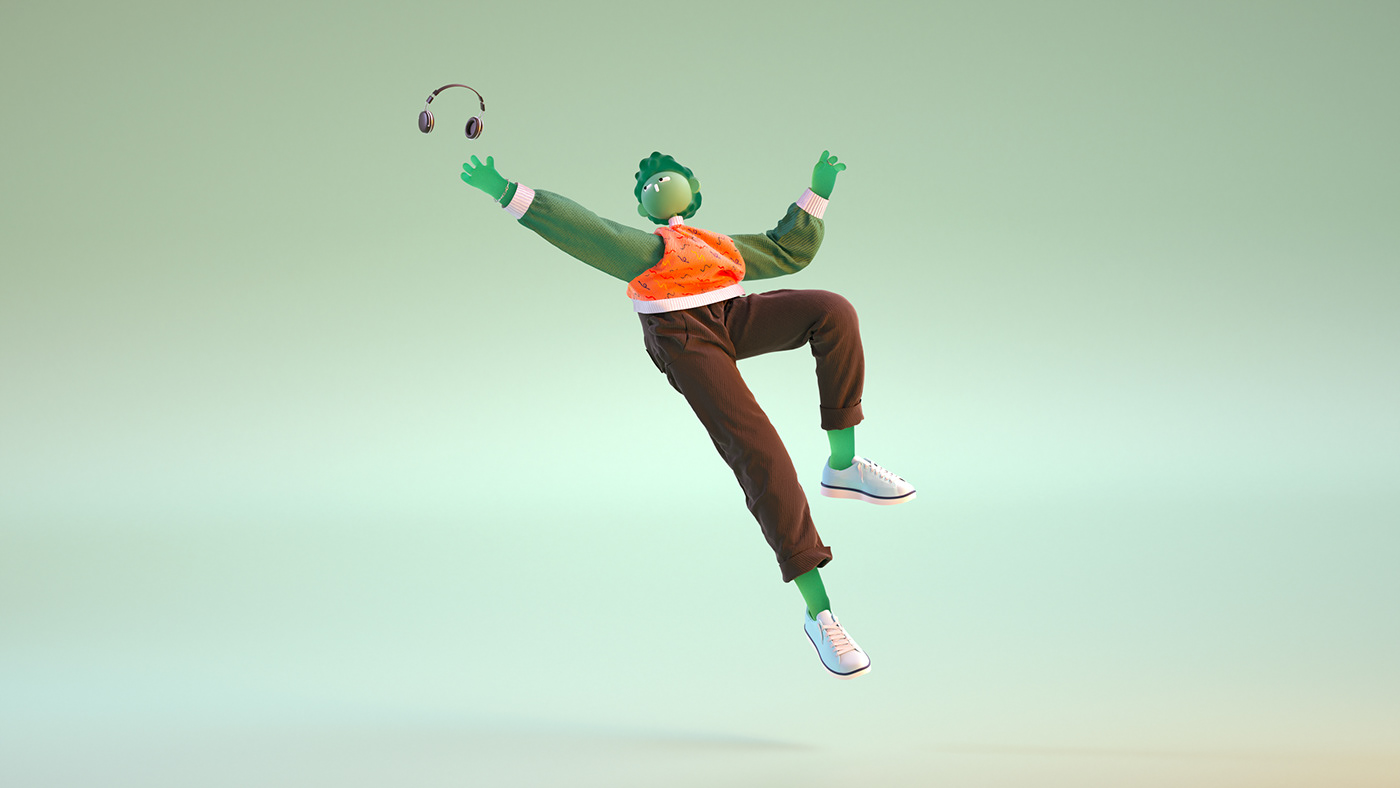 music DANCE   Character feelings Colourful  3D