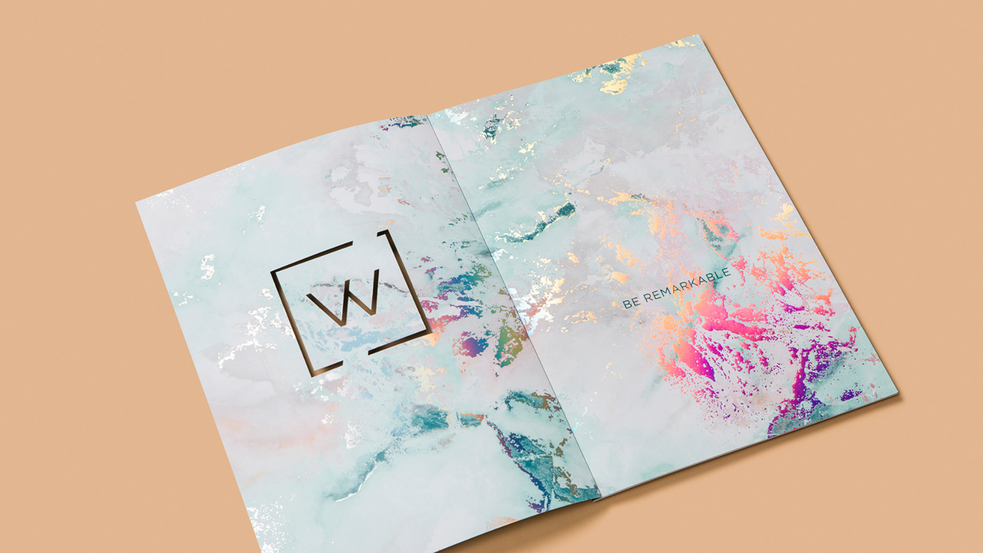 Diecut Layout coworking marketing   offices Innovative brochure branding  embellishment holographic foil