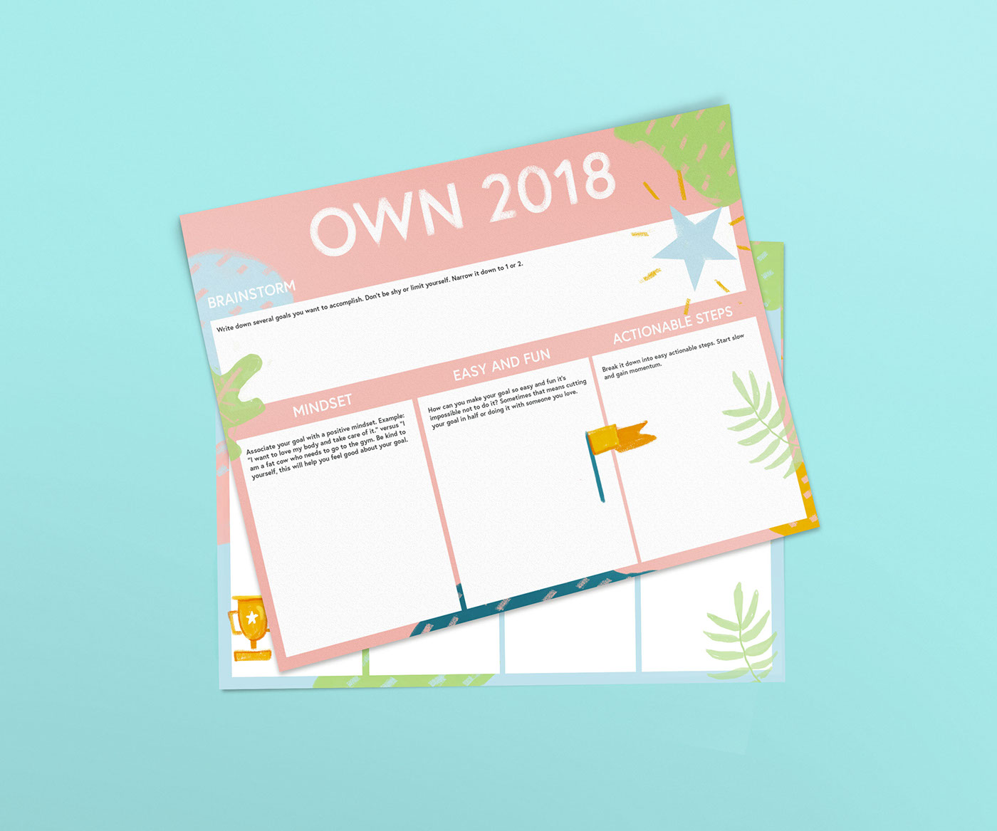 Own 2018 Goal Planning Worksheets on Behance