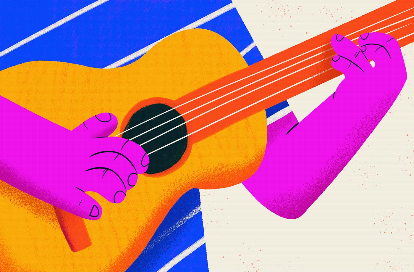 Character design  colorful design editorial ILLUSTRATION  Ilustração jazz music Samba
