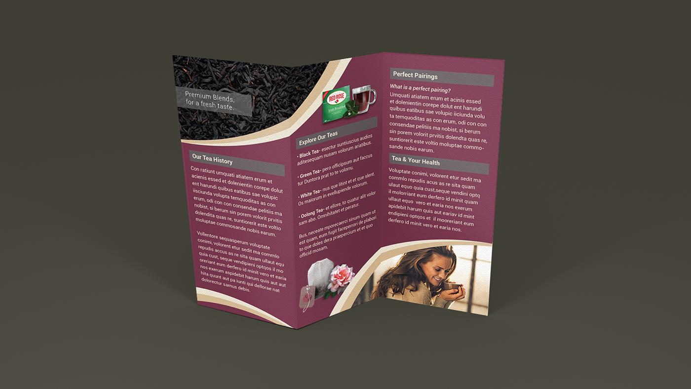 red rose tea self mailer brochure on behance