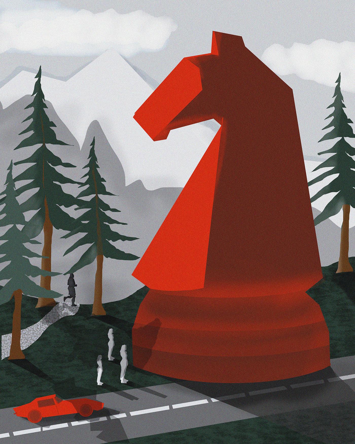 art chess digitalart Drawing  editorial ILLUSTRATION  Landscape painting   photoshop print