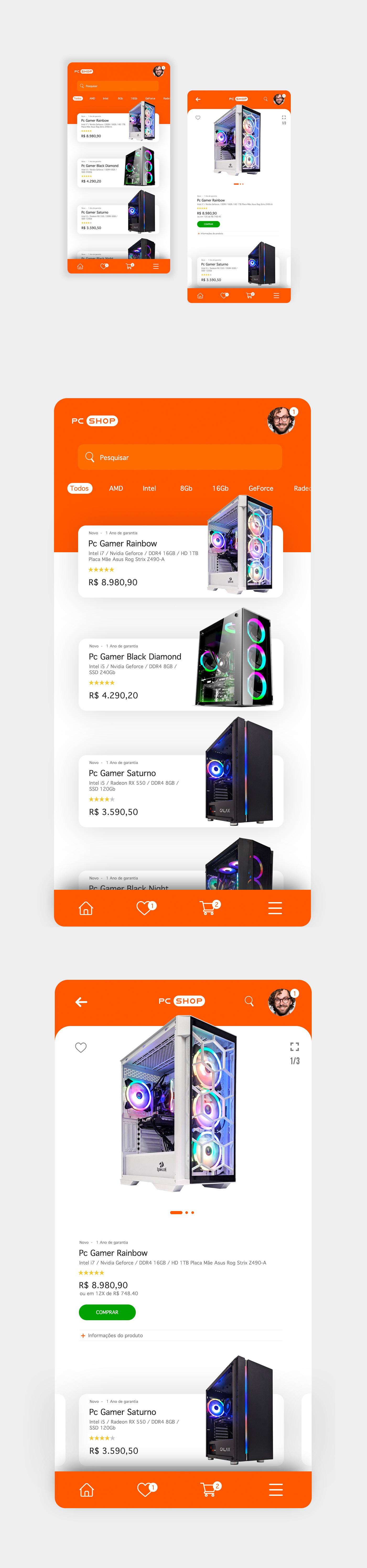 app design Ecommerce Interface pc gamer shop UI ux