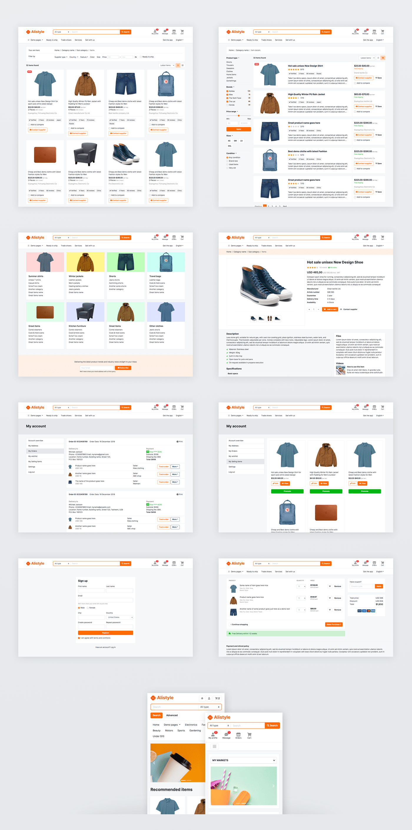 Ecommerce E-Commerce Theme alibaba style design marketplace template online shop design Website Online Shop Web design