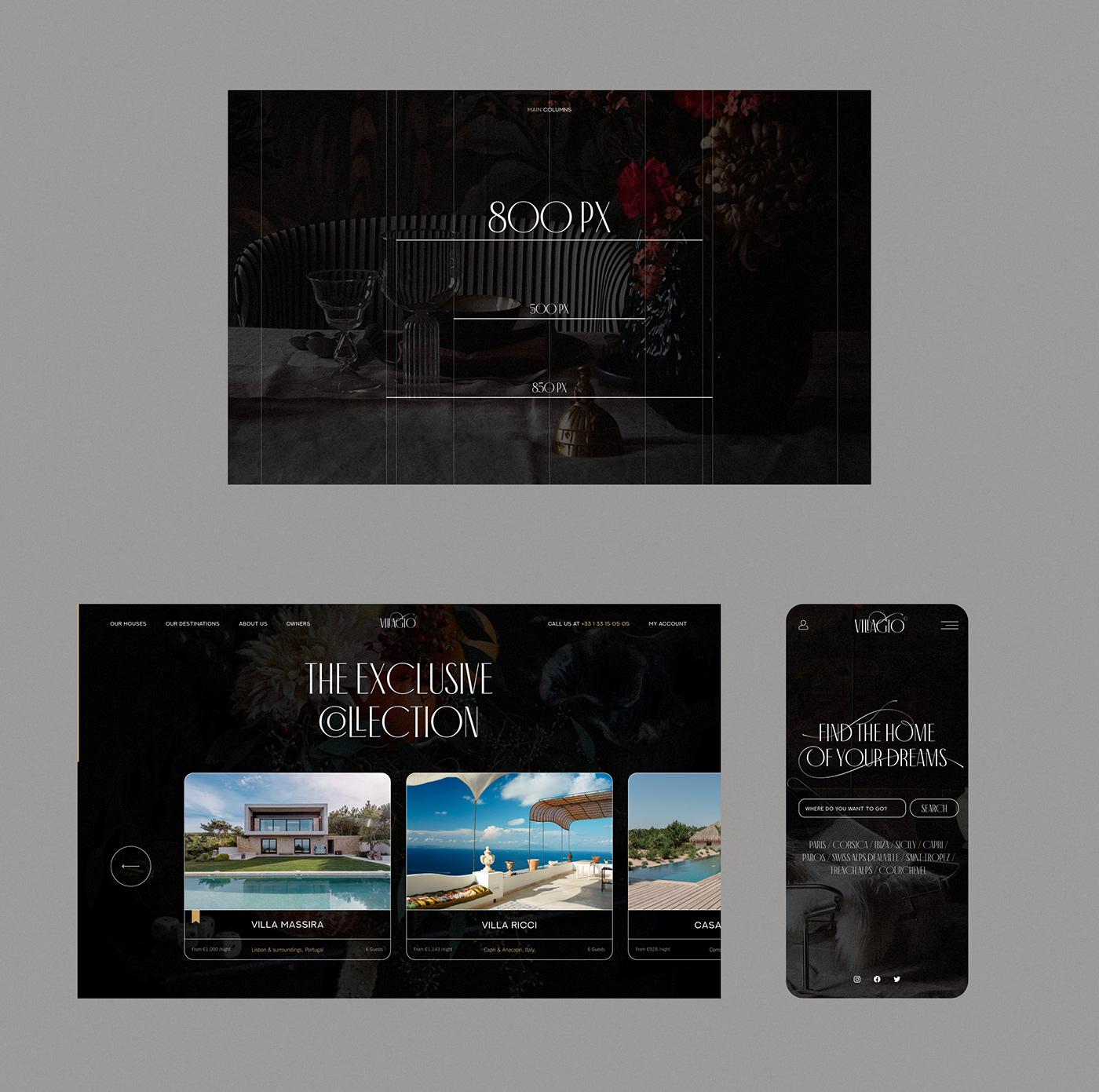 Website real estate luxury website luxury Web Design  Ecommerce luxury rental Rental service UI/UX Villa Rentals