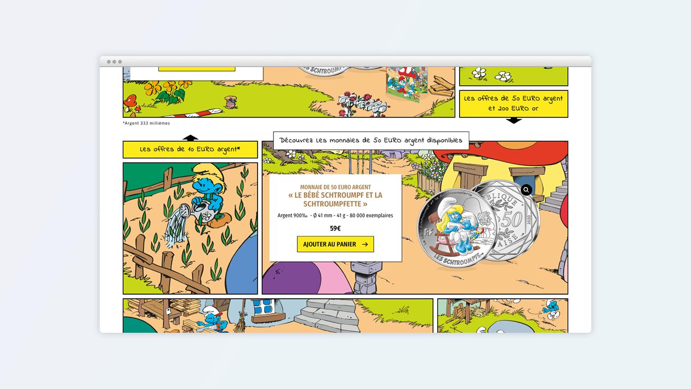 coin CURRENCIES Mobile first monnaie Monnaie de Paris Schtroumpf Schtroumpfs Smurf smurfs Webdesign