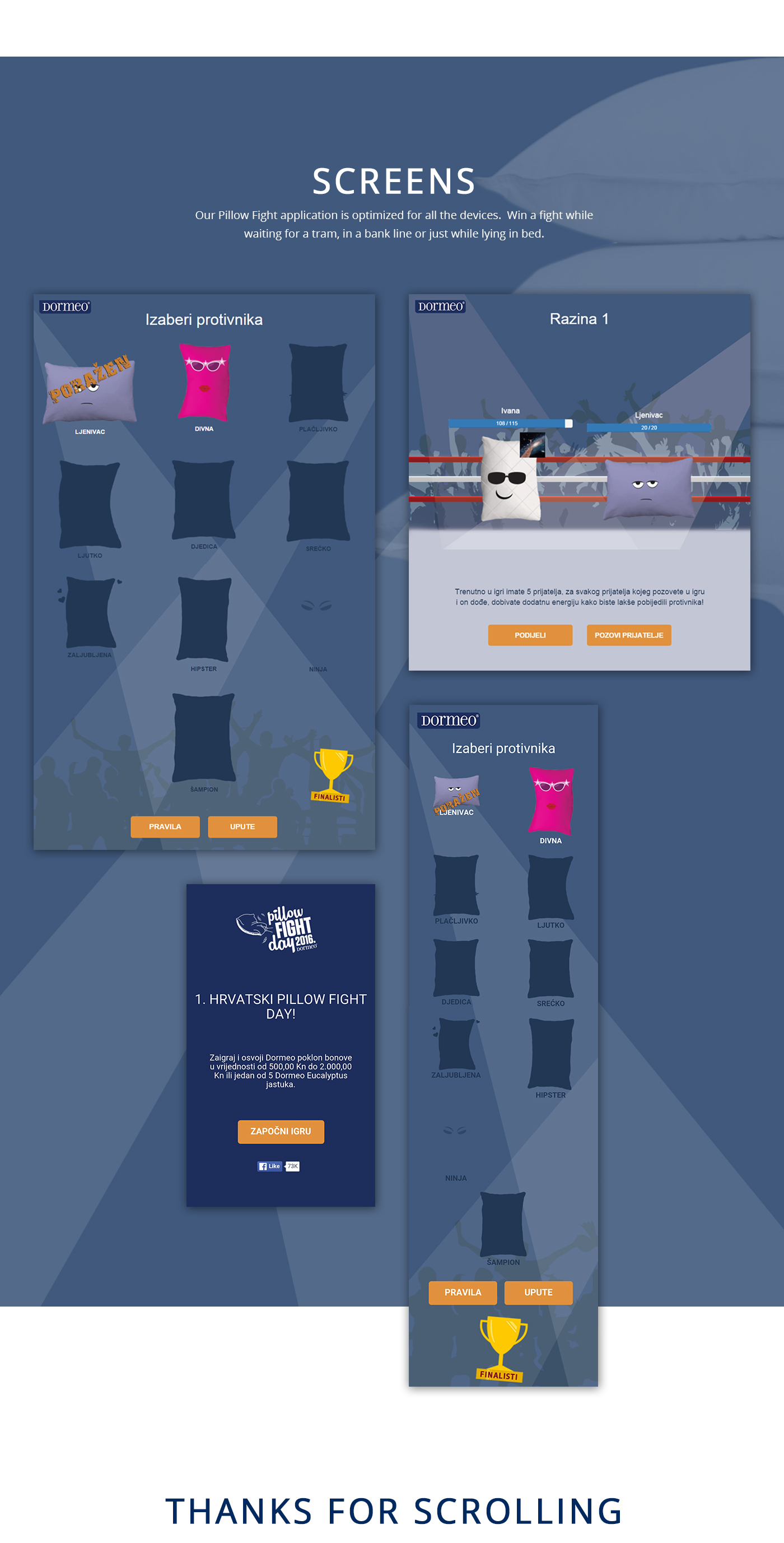 facebook application game Click UI ux design Web Website pillow Dormeo contest prize development