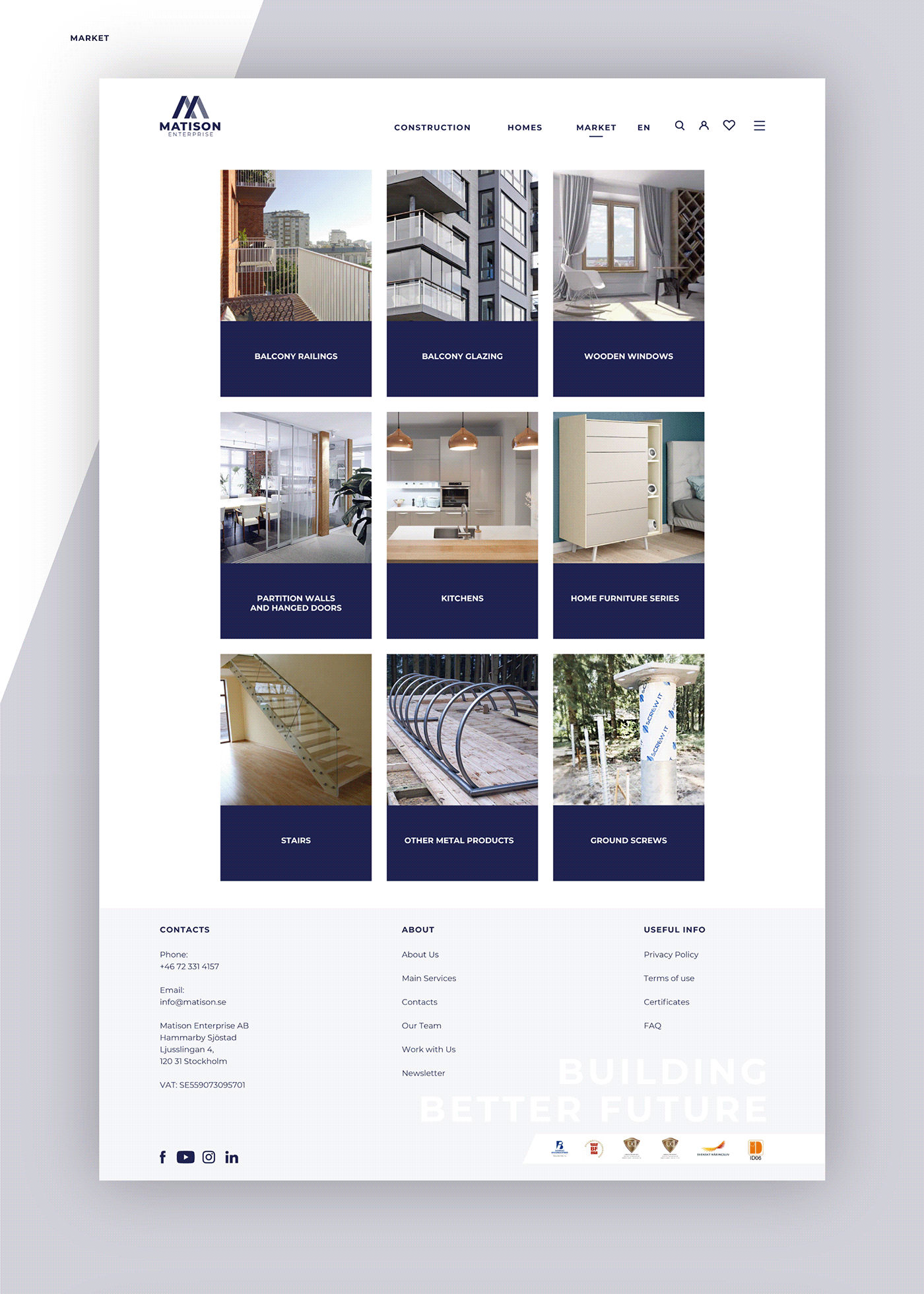 blue branding  construction identity logo Website