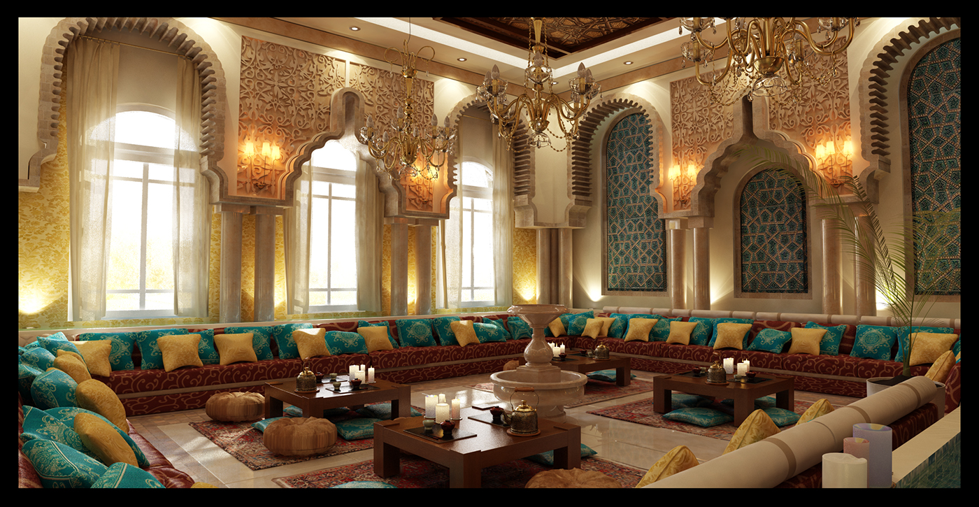 Moroccan majlis on behance for Moroccan living room furniture 02