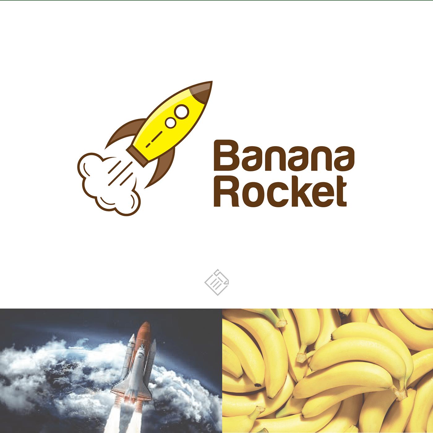 banana Food  InDesign logo logodesign rocket