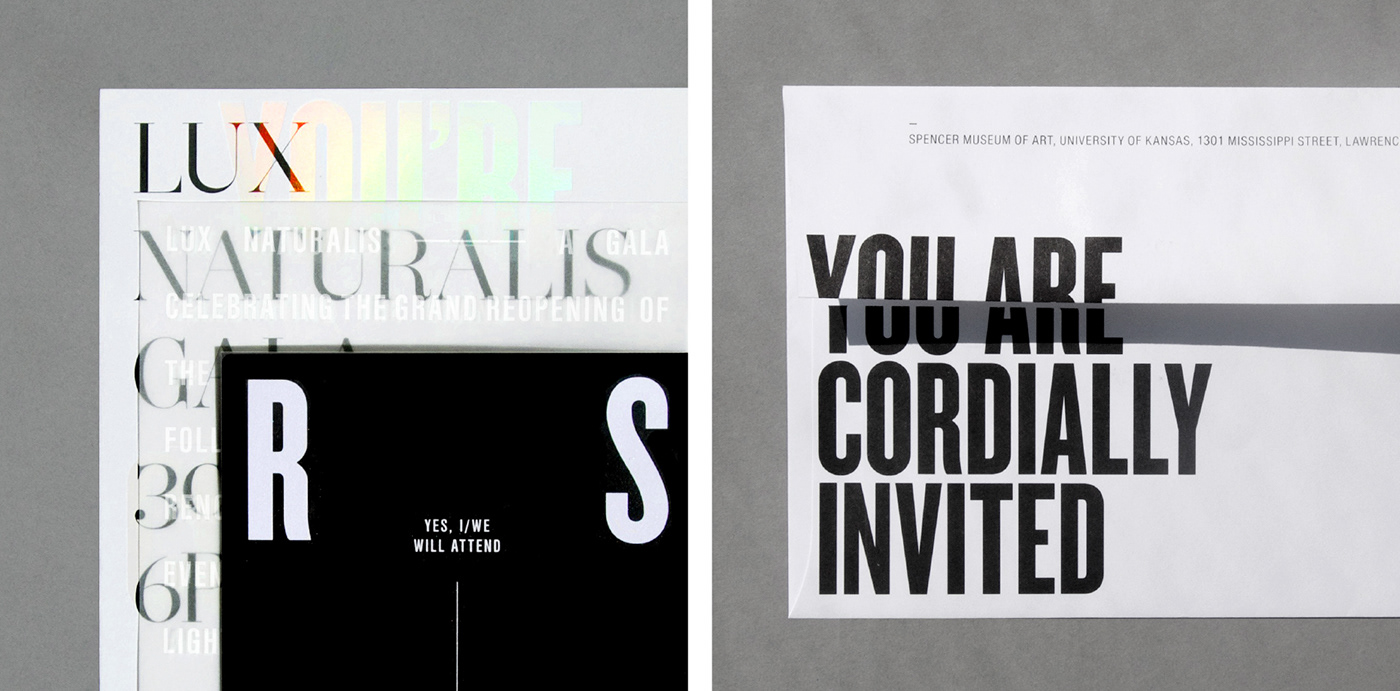 print Invitation Gala holographic foil foil light Lux typography   holographic