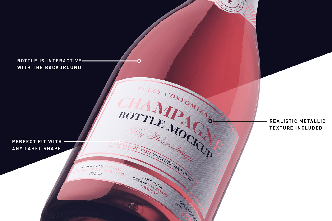 Champagne bottle Mockup wine alcohol winery glass Advertising  drink mock-up