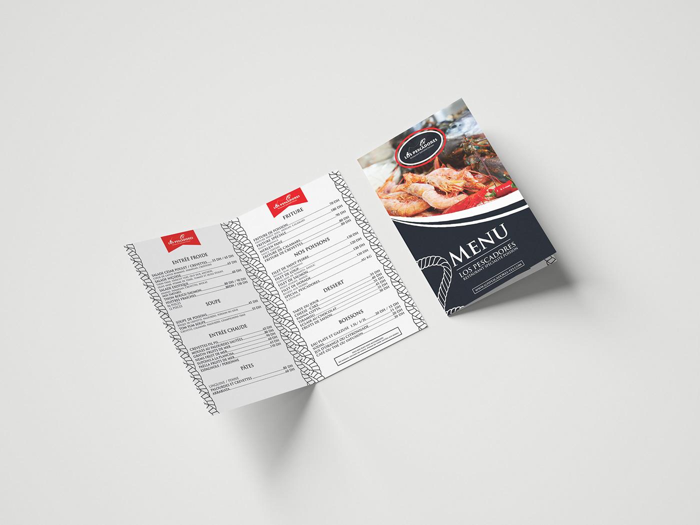 Food  menu restaurant Conception desing fish