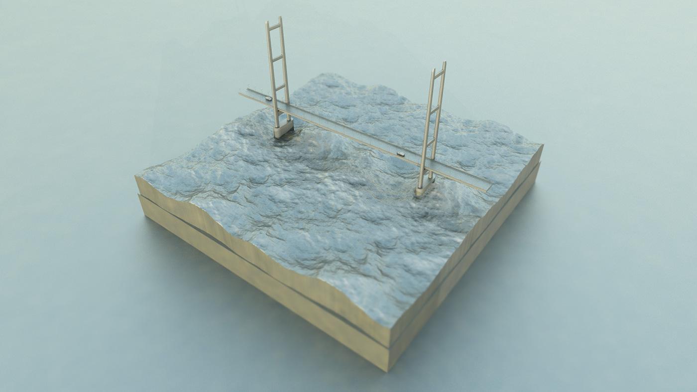 cinema 4d c4d cinema4d maxon Humber Bridge Diorama 3D modelling Hull bridge