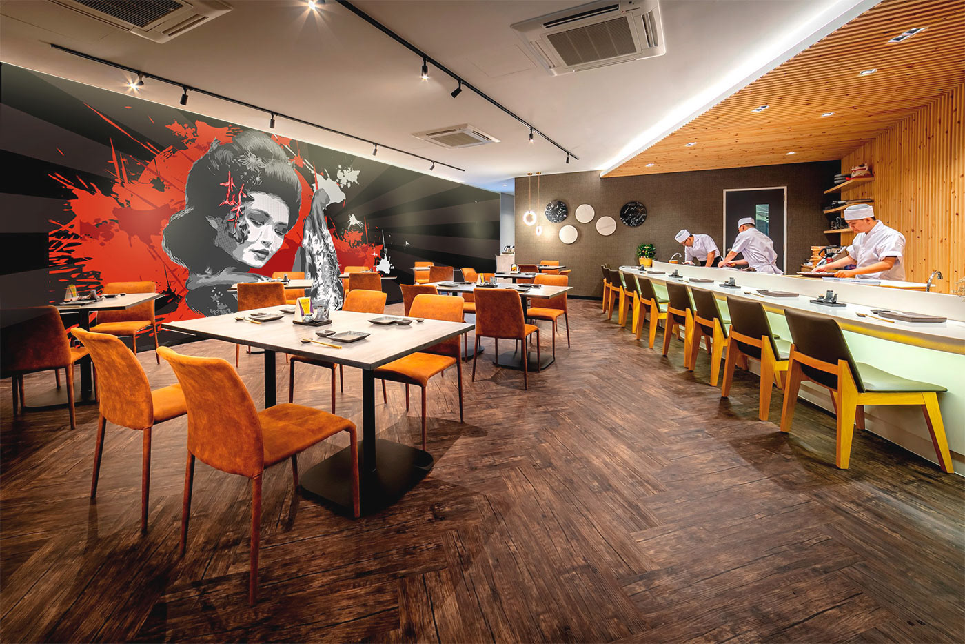 interior of sushi restaurant with a geisha graffiti on the wall