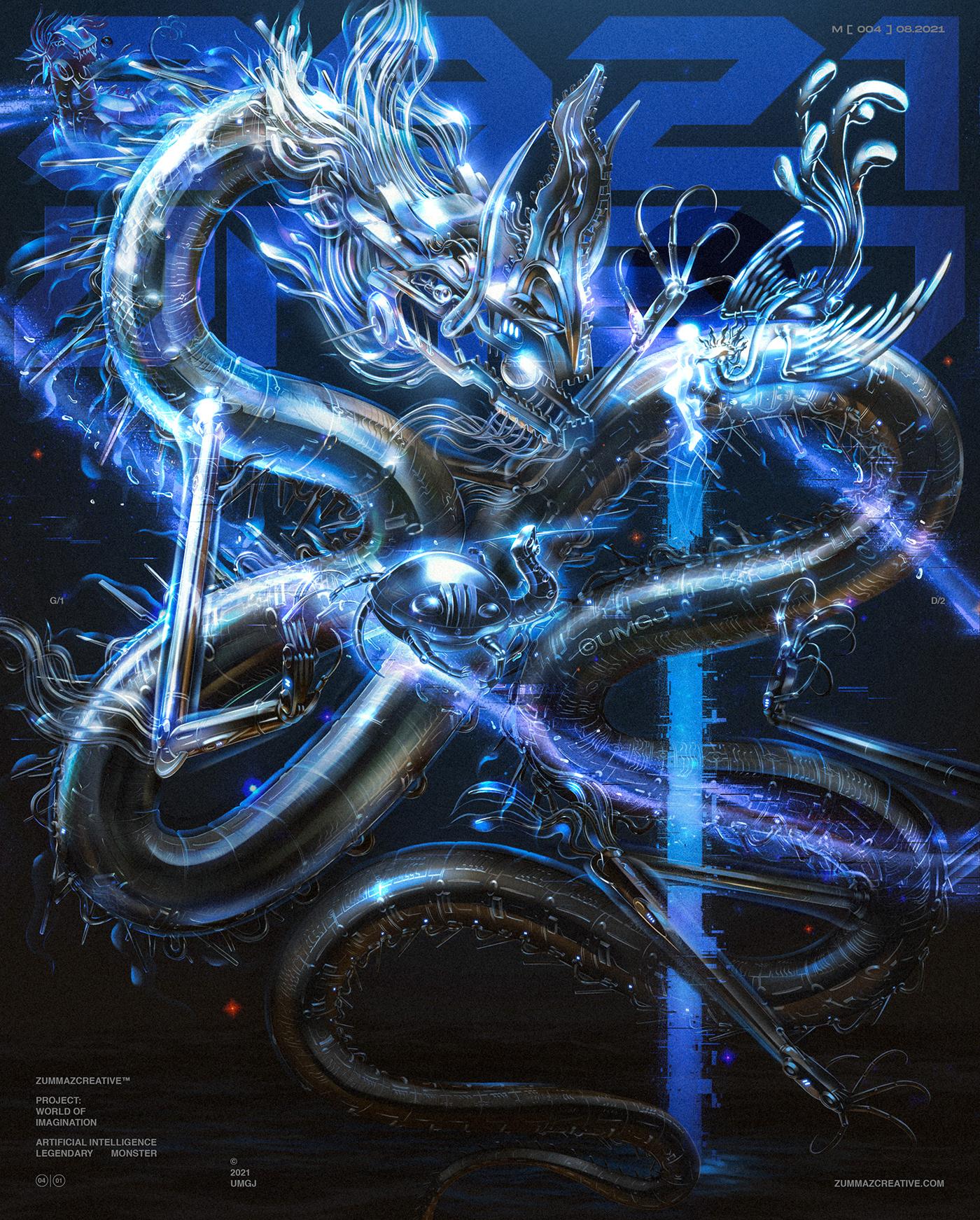 artwork Cyberpunk Cyborg Digital Art  dragon ILLUSTRATION  Scifi streetwear surreal umgj
