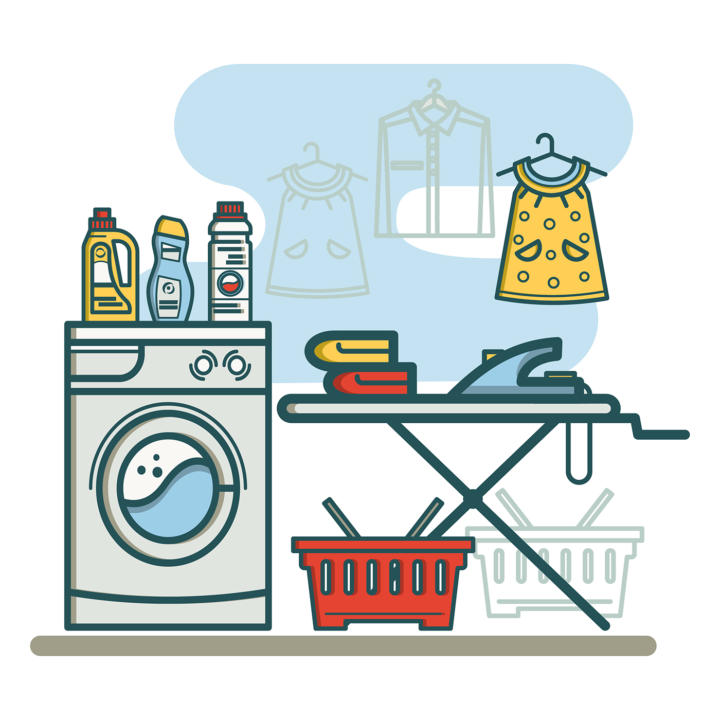 Free laundry room linear icons on Behance