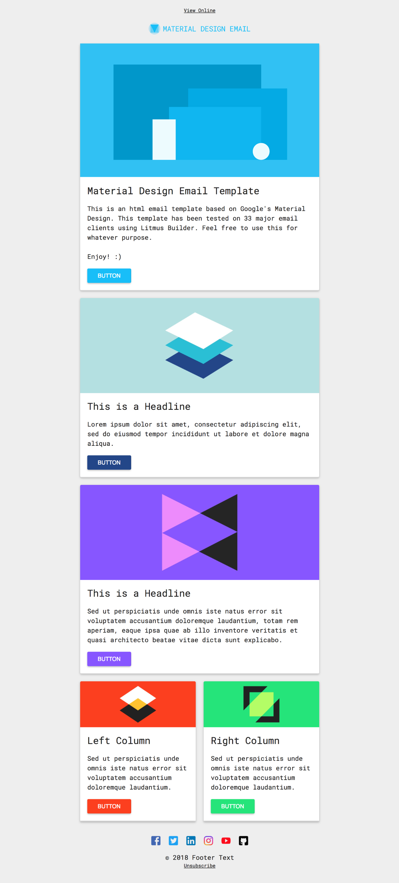 Free html email template material design on behance for Designing an email template