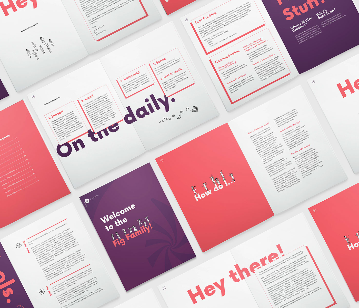 Handbook magazine colorful Fun cartoon ILLUSTRATION  editorial typography   minimal HR