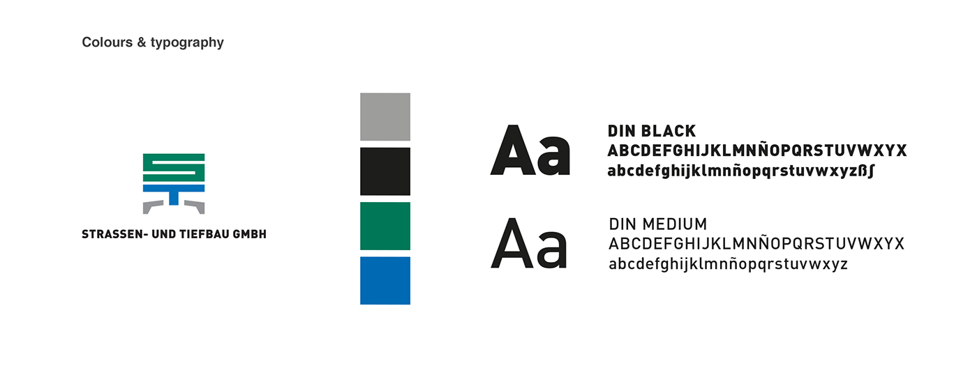Logo, typography and used colours in the website