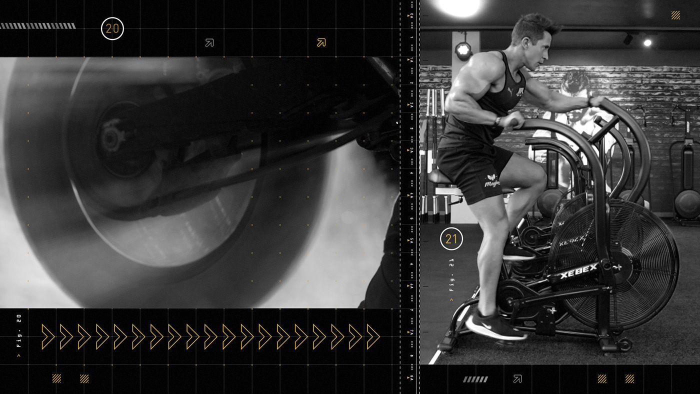 Male athlete on a bicycle in the gym split screen with a motorbike wheel spin