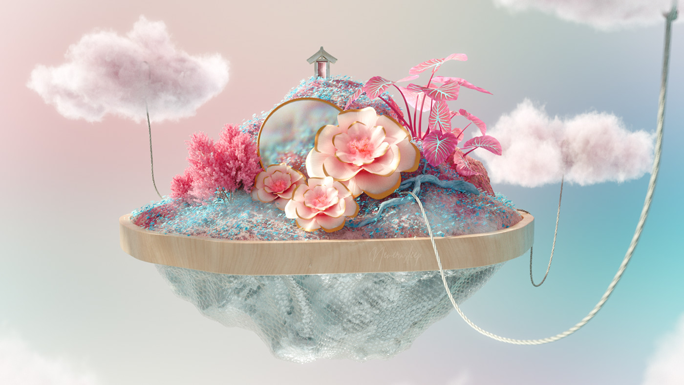 Beautiful c4d calm dream flower pastel surreal