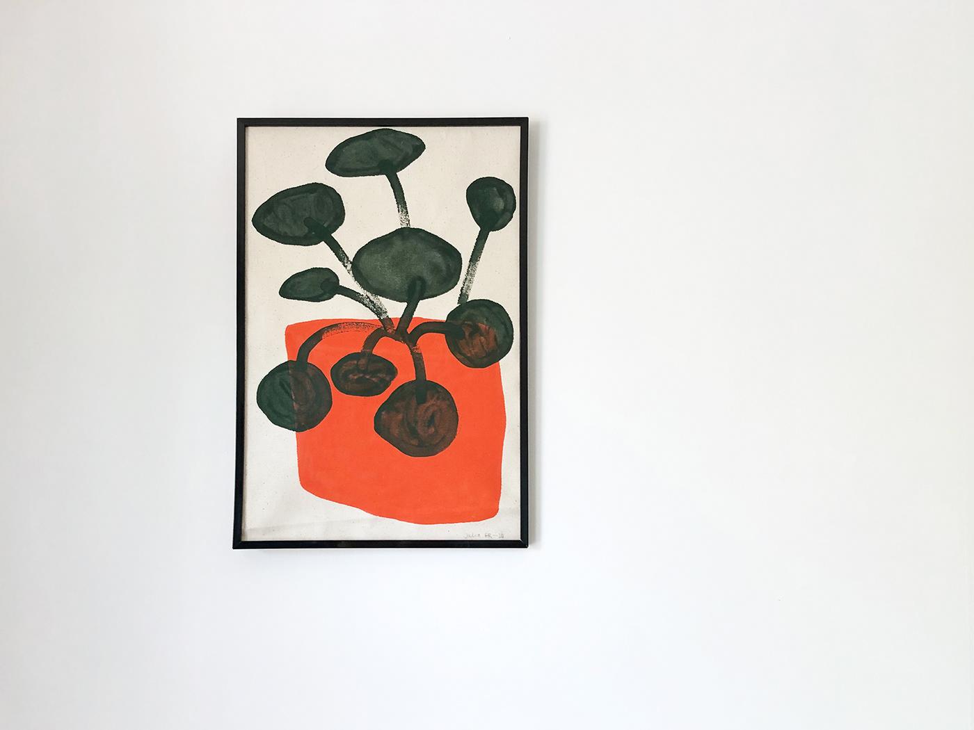 canvas Flowers ILLUSTRATION  Paintings plants portrait woman