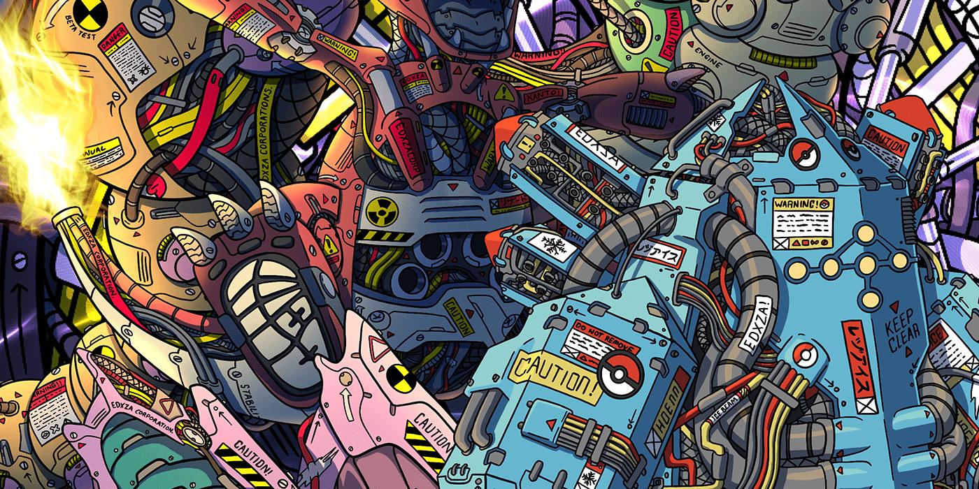 anime art cartoon Digital Art  ILLUSTRATION  mecha Pokemon robot