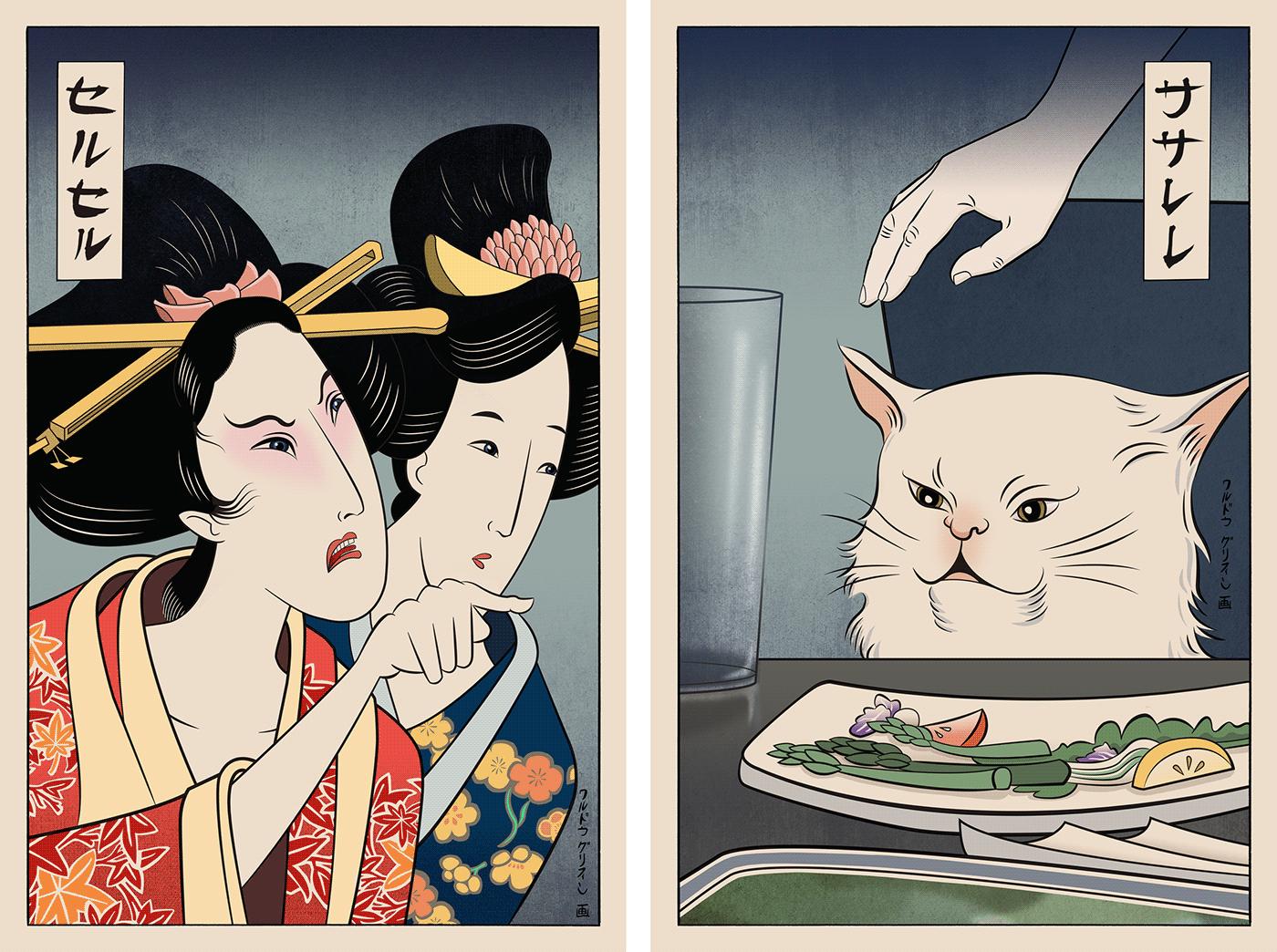 Cat Meme Ukiyo E On Behance