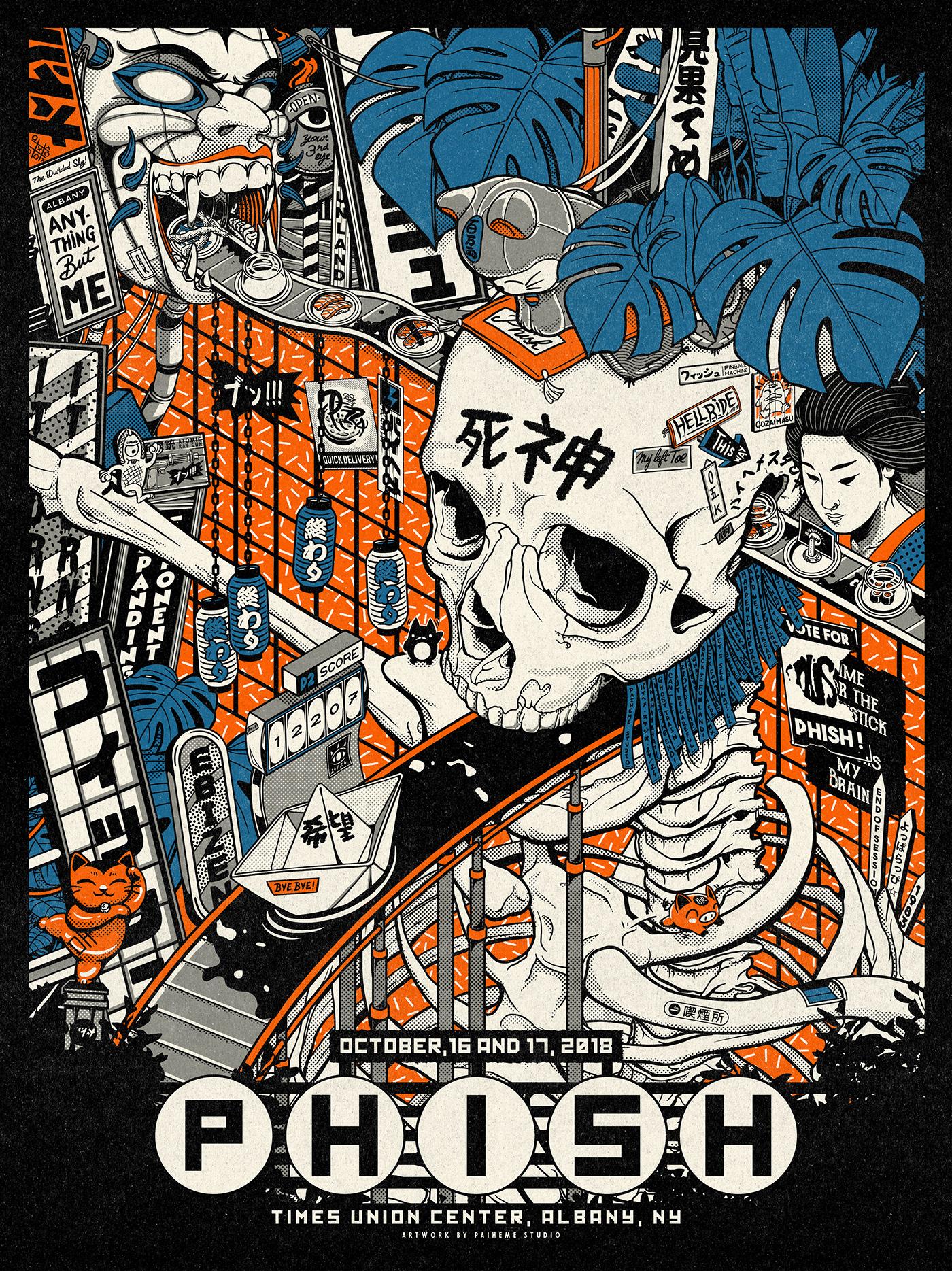 paiheme paihemestudio Phish poster concert vintage japanese graphism ILLUSTRATION  print japan